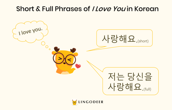 short & full phrase of how to say i love you in korean