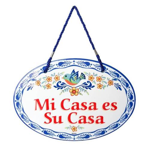 possessive pronouns in spanish: mi casa es su casa door decor sign