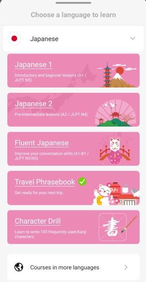 Learn Japanese phrases in lingodeer's travel phrasebook