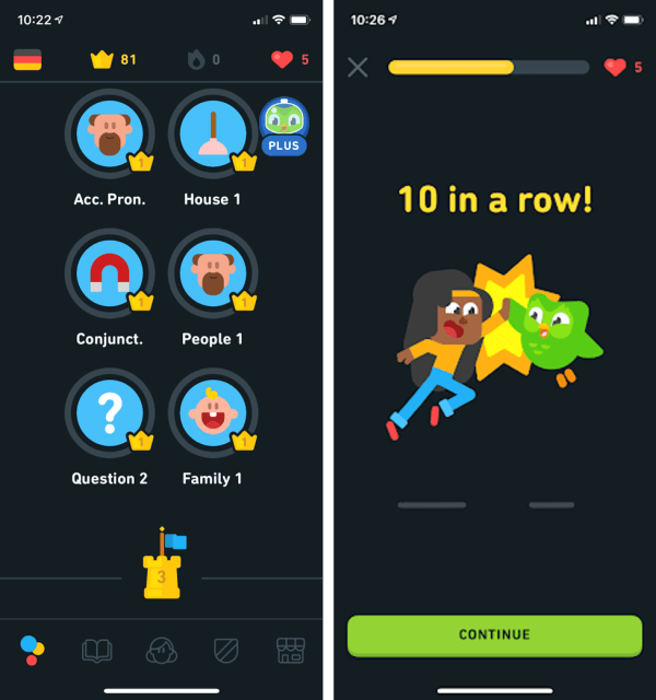 Duolingo German Review Lingots, hearts and crowns