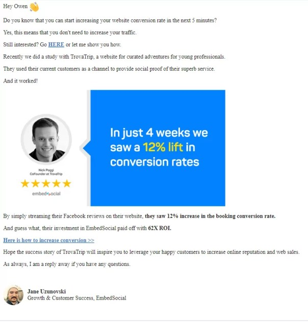 customer success story emails