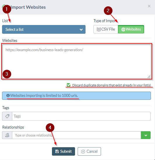 Upload outreach URLs