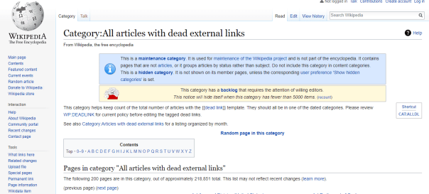 Dead external links on Wikipedia