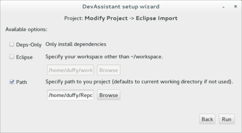 Window shown after the Eclipse Import process is started.