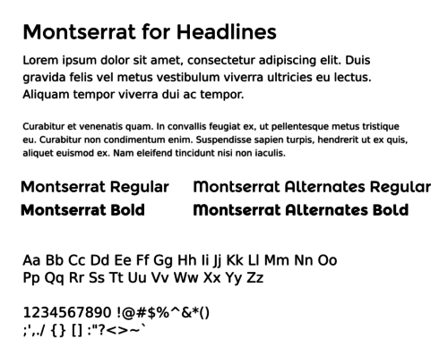 montserrat type sample
