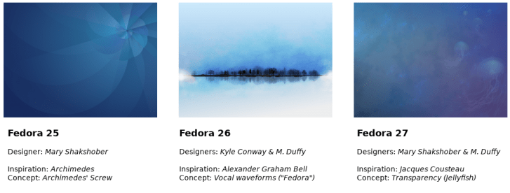 F25's wallpaper - an almost floral blue gradiated blade design, F26 a black tree line reflected in water against a wintry white landscape (the trees + reflection resemble a sound wave), F27 a blue and purple gradiated underwater scene with several jellyfish - long tendrils drifting and twisting - floating up the right side of the image