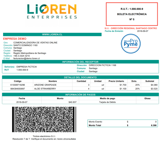 documento tributario electronico lioren