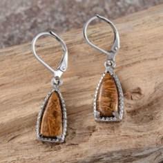 Indian Script Stone Earrings