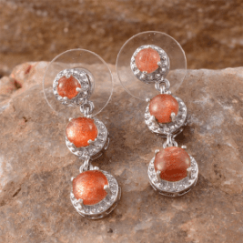 Rare and Exotic Gemstones - Madras Sunstone Earrings