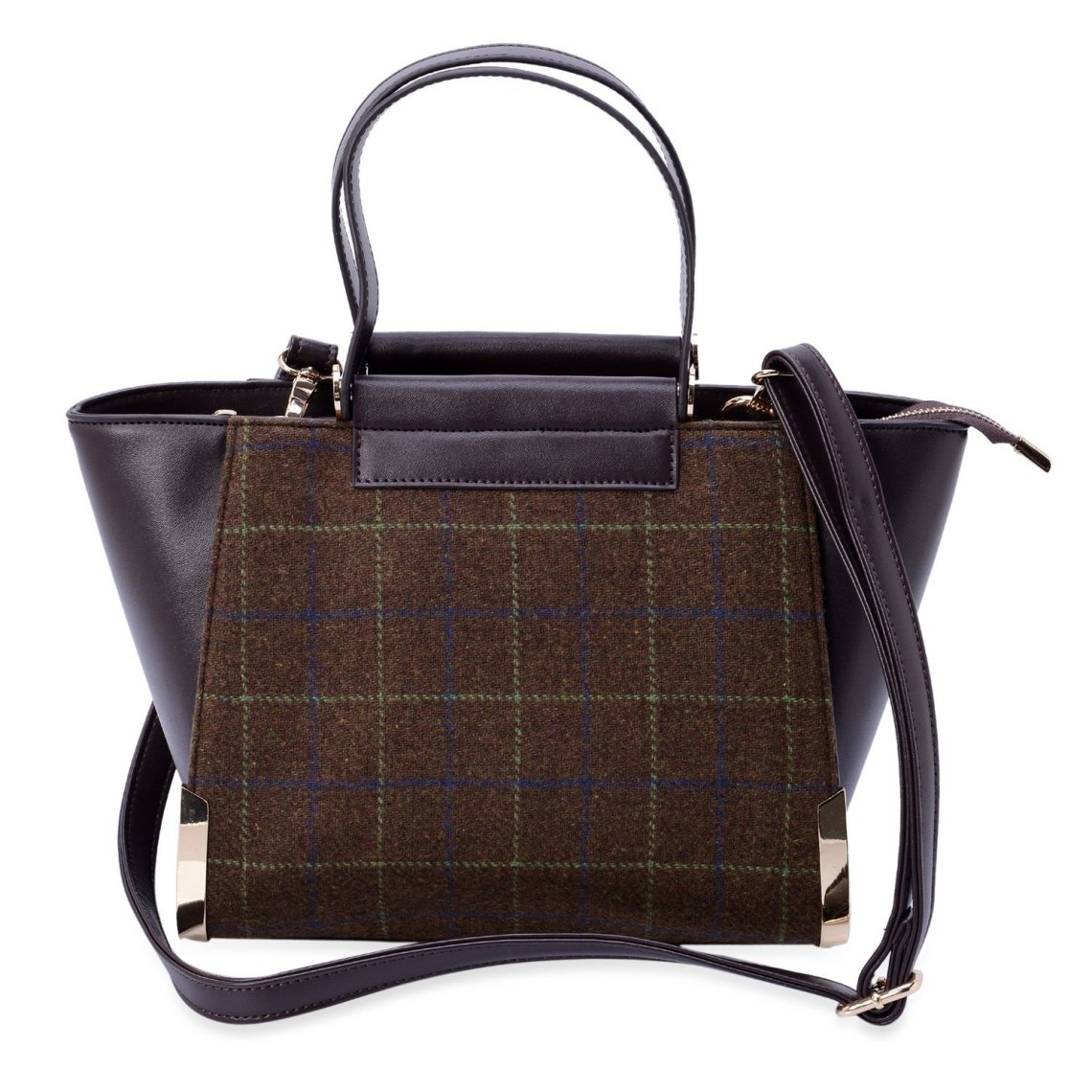 J Francis - Dark Brown Faux Leather and Fabric Tote Bag