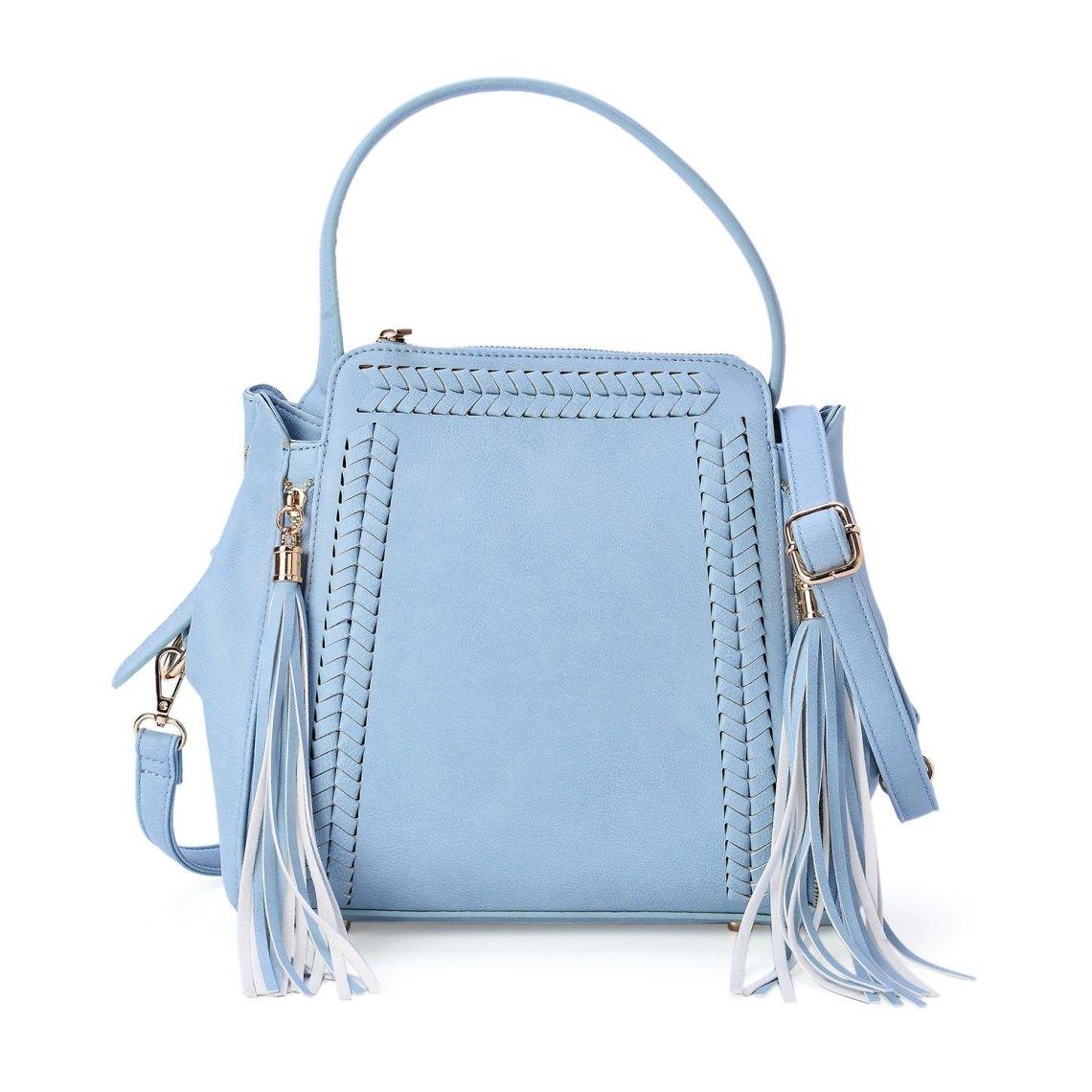J Francis - Sky Blue Vegan Leather Shoulder Bag