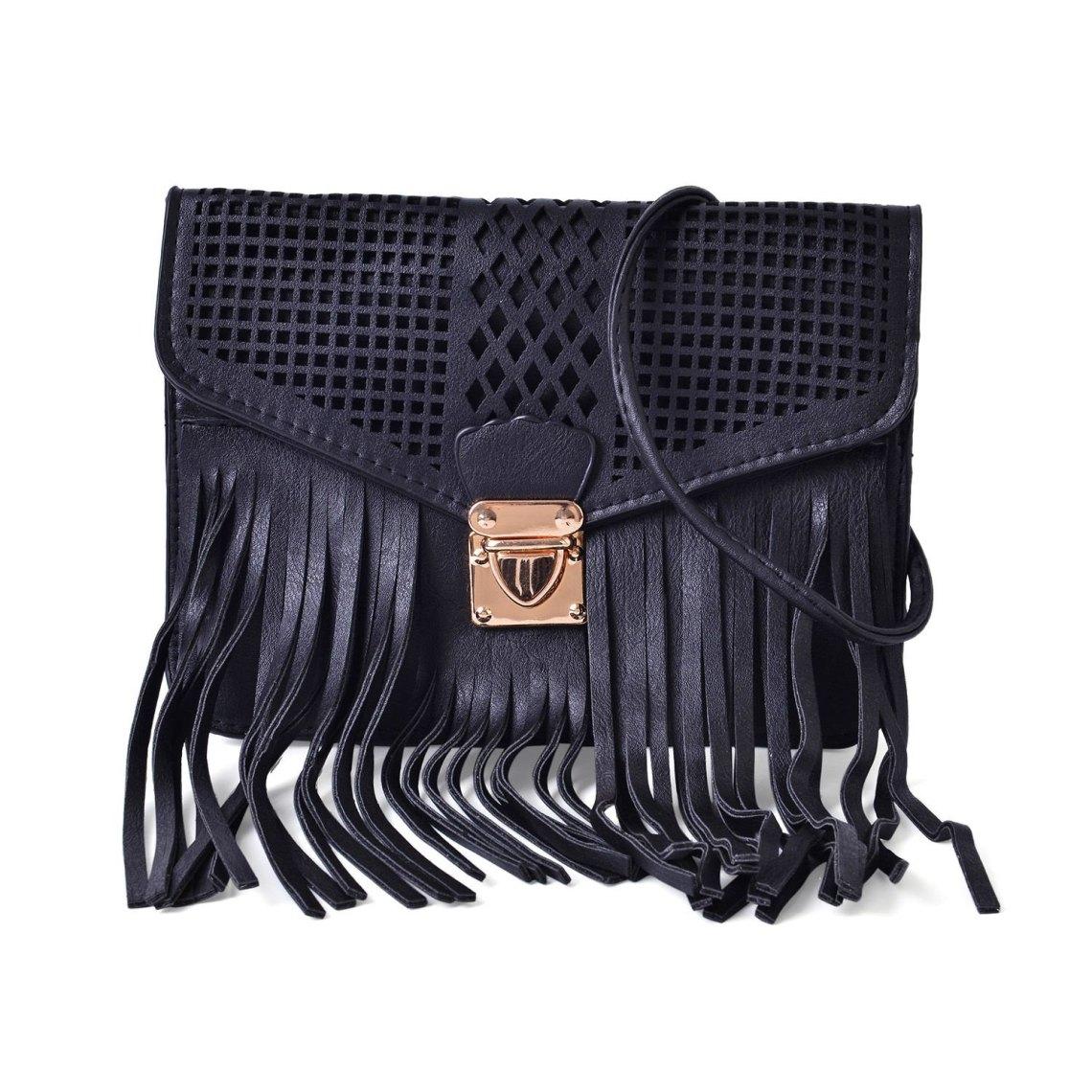 J Francis - Black Faux Leather Crossbody Bag