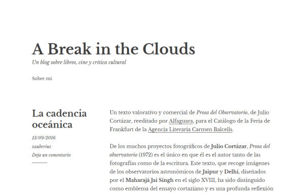Blogs literarios: a break in the clouds