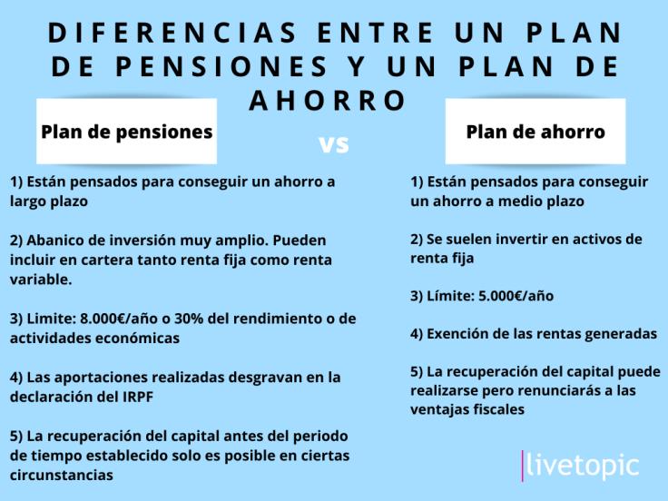 diferencias entre un plan de pensiones y un plan de ahorro