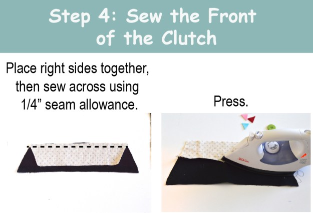 Sew front of clutch