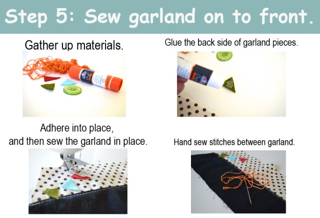 Sew garland on