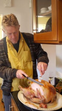 carving the outrageously large turkey