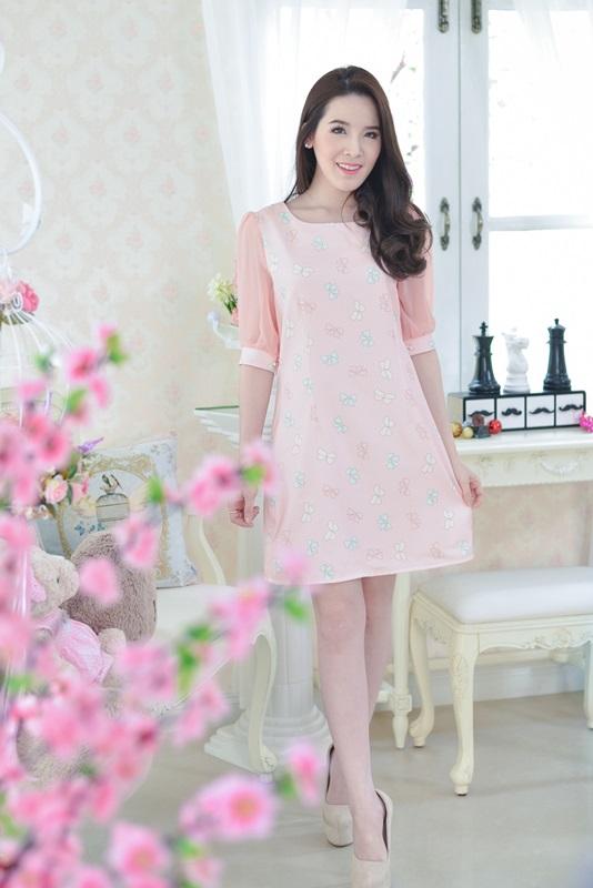 So Sweet Bow Printed Dress