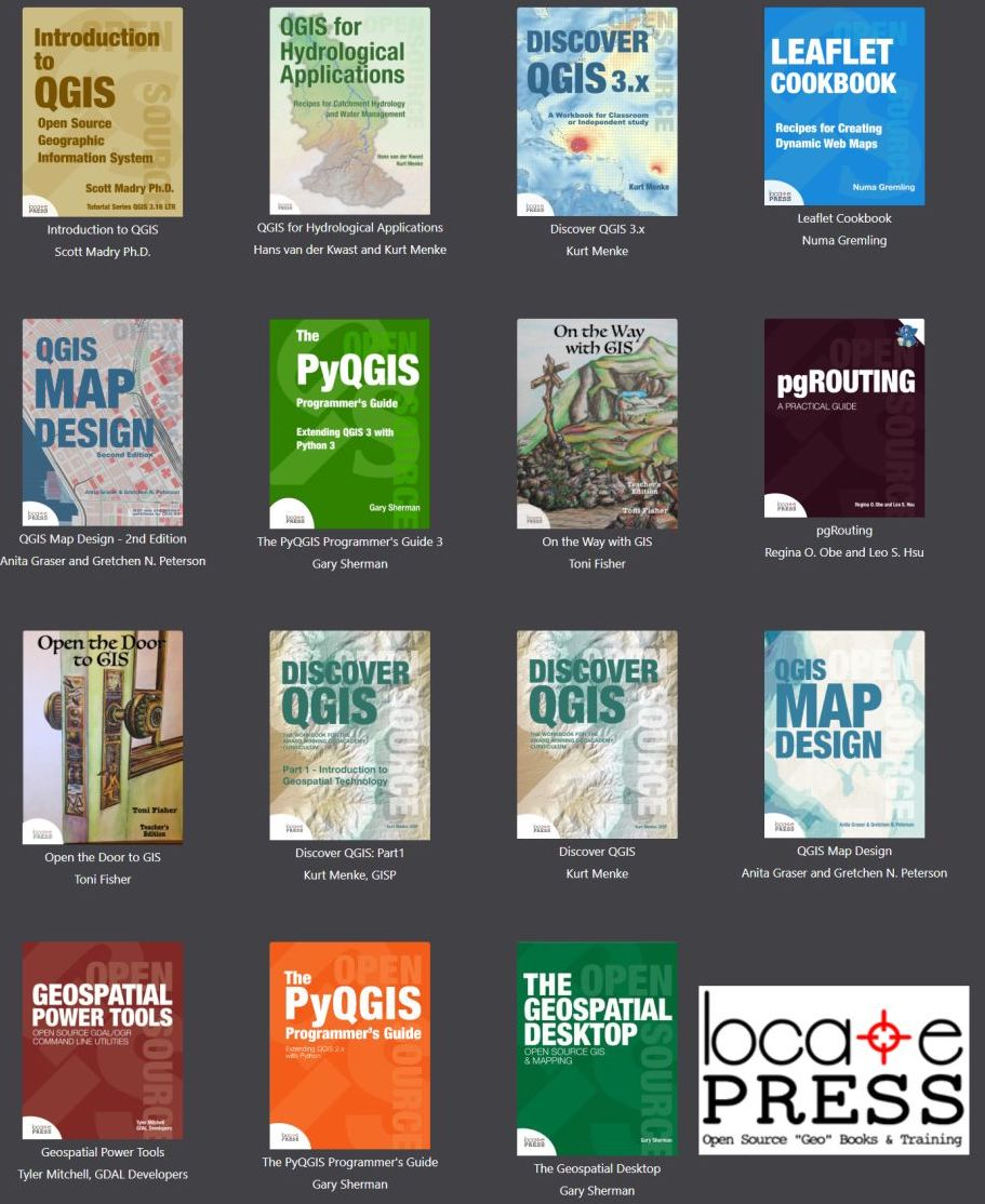Locate Press 2021 Catalog includes GIS training and teaching books for QGIS, Leaflet, PgRouting, GDAL, and more.