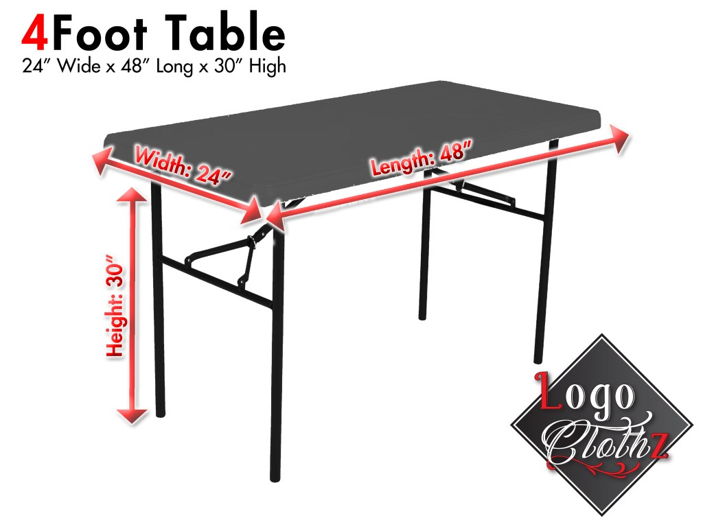 image of a 4ft table measuring 24x48x30
