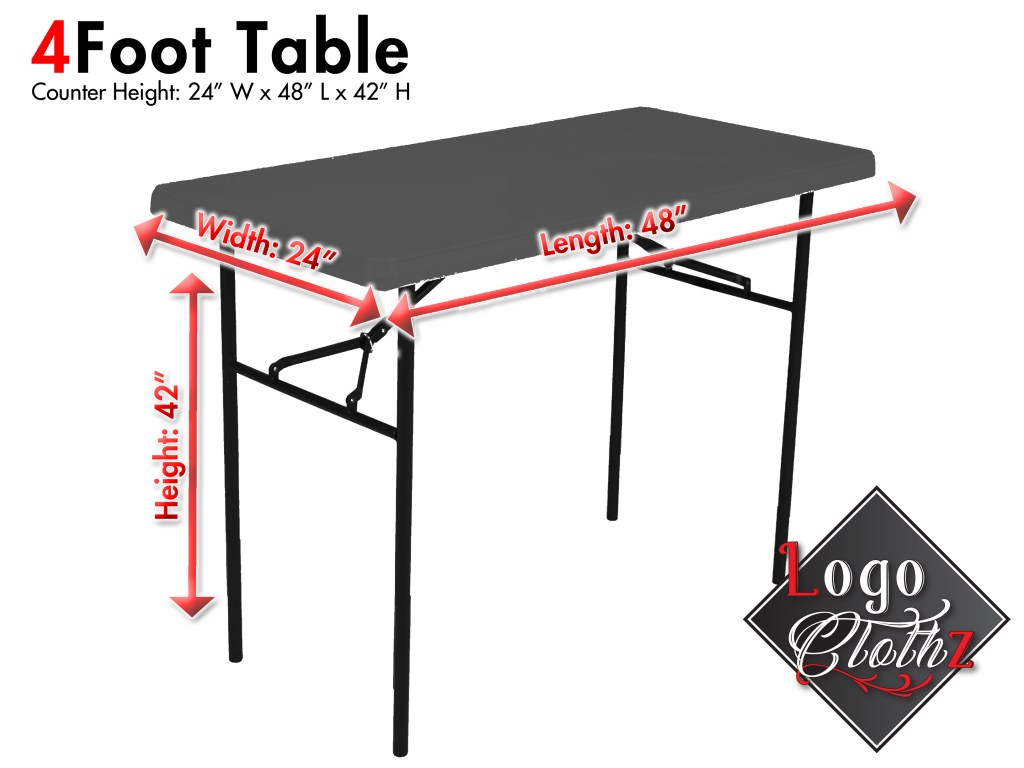 42 inch tall 24 inch wide 4 foot long folding table
