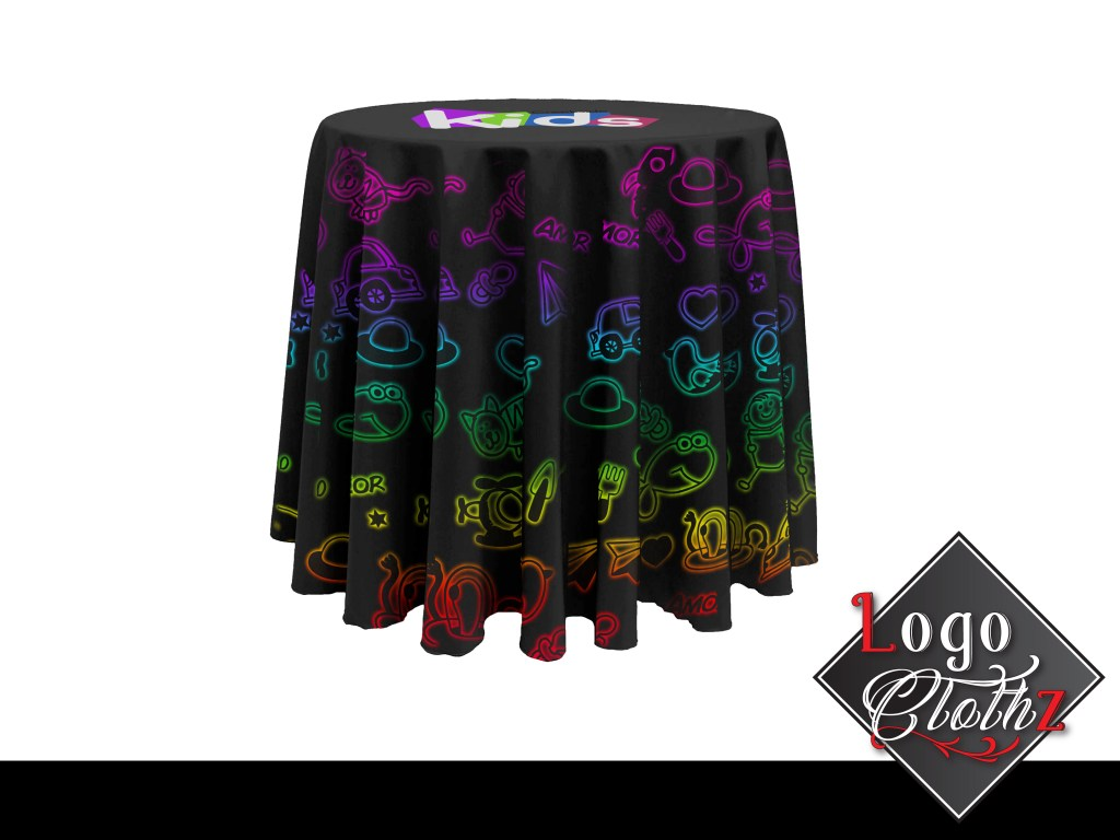 custom printed round tablecloth