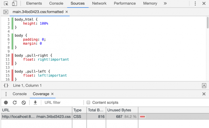 Coverage Results In DevTools