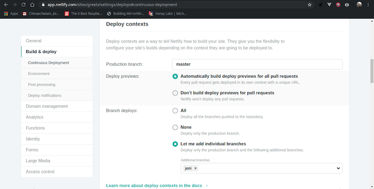 Build and Deploy Settings in Netlify