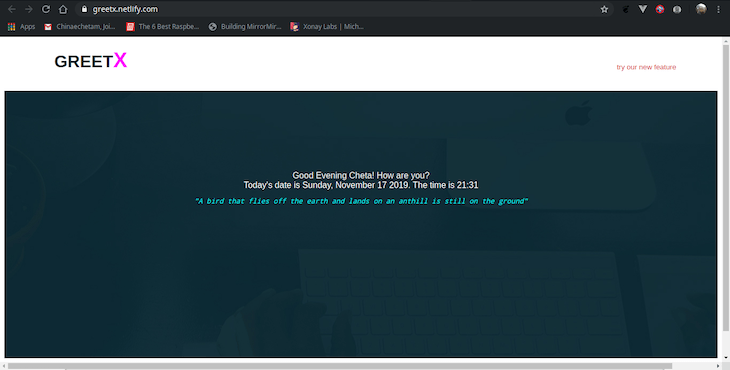 Screenshot of GreetX Hosted on Netlify