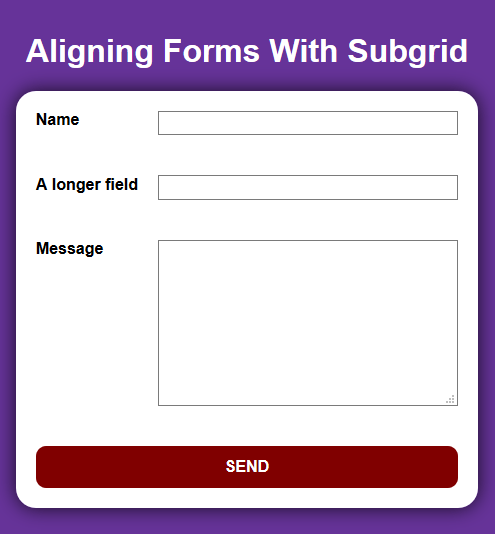 Aligning Form Elements Example
