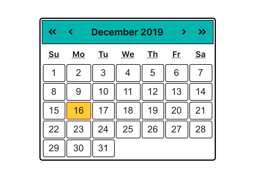 calendar with days populated