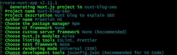 create-nuxt-app Setup