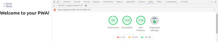 Chrome DevTools Audit Score