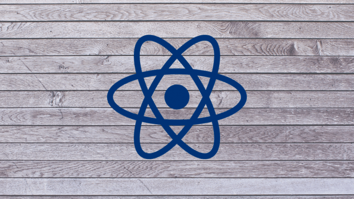 An image of the React logo overlayed on a wooden backdrop.