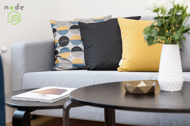 A Sofa, Coffee Table, and Pillows
