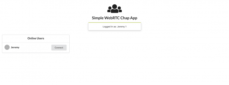 A simple WebRTC chat app displaying that there are other users online.