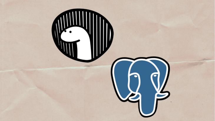 An image of the Deno and Postgres logos.