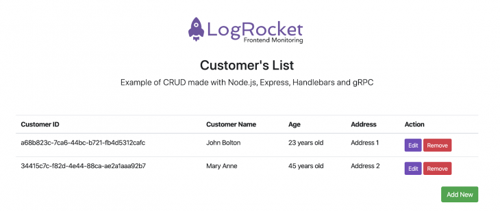 Logrocket customers list CRUD