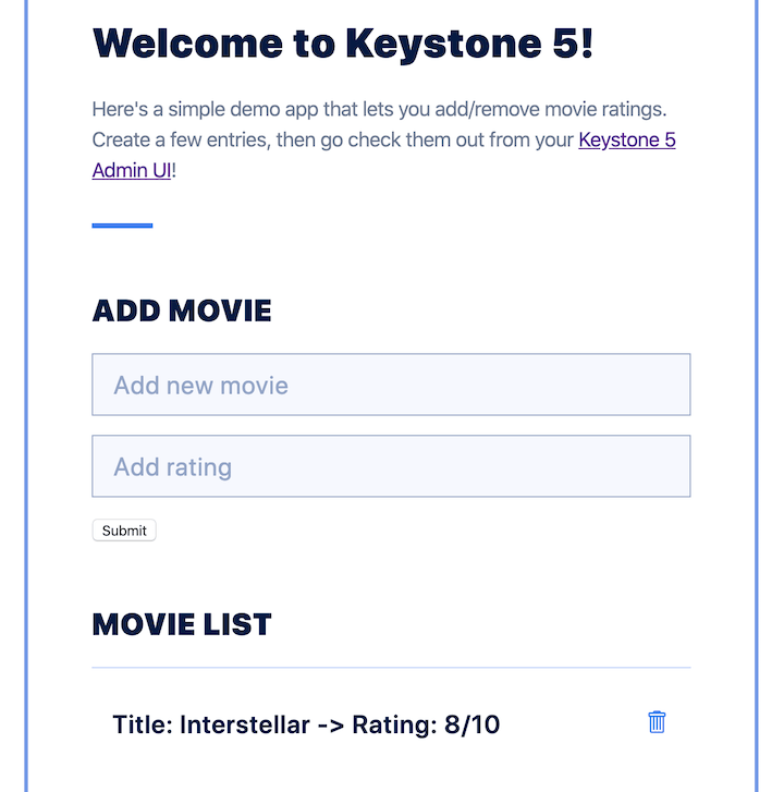 Rendered Interface for Keystone.js Movie Rating App