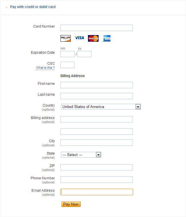Example Of A Long Payment Form