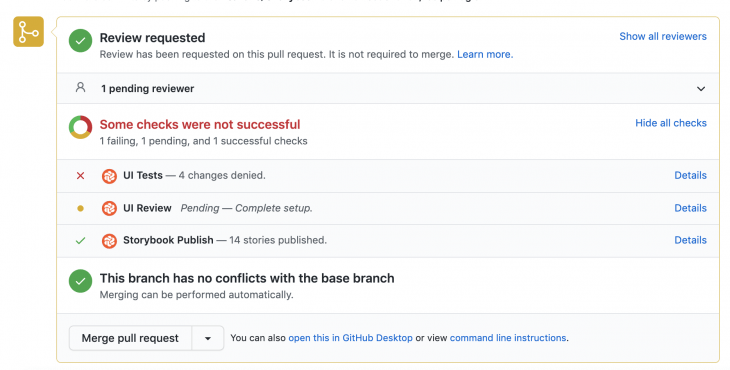 Chromatic UI test status displayed on Pull Request on GitHub