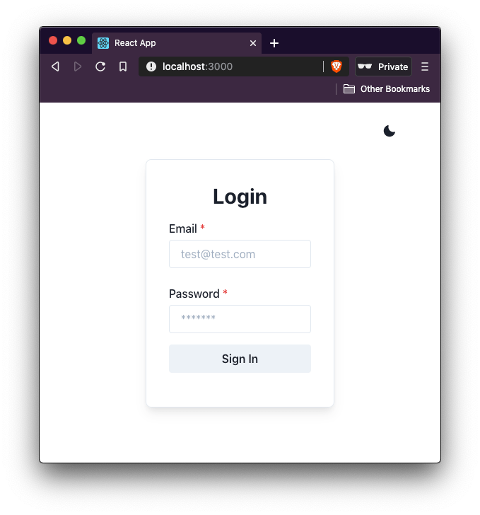 login form in light mode