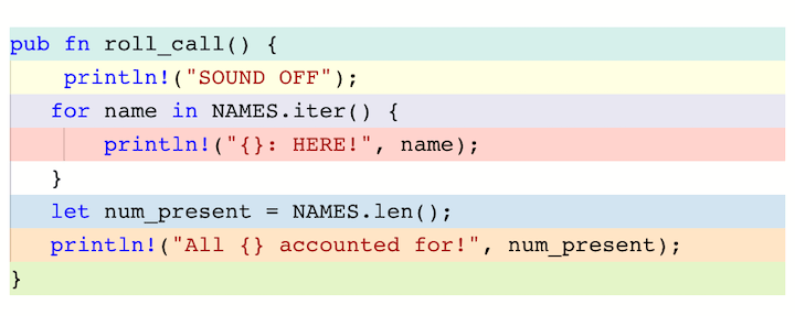 Color-Coded Assembly Code