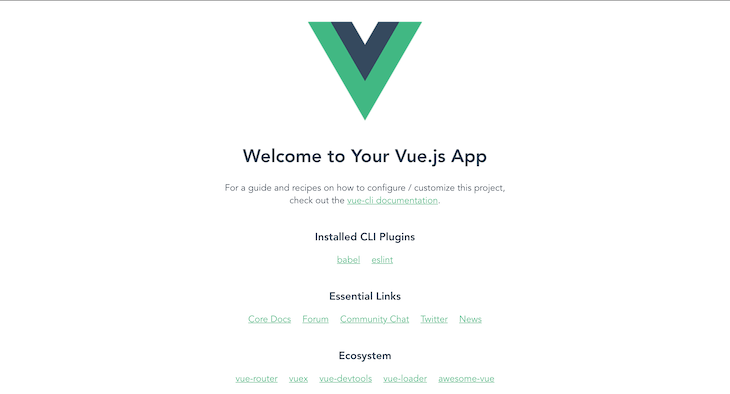 Default Vue Project UI