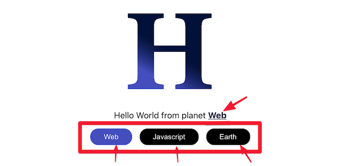 Highlighting The HelloUI Planet Text Buttons