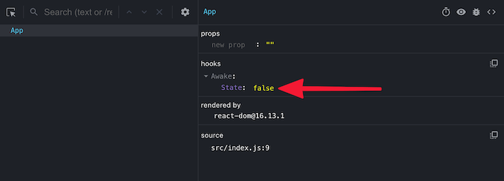 Inspecting the Hook's internal state in React DevTools