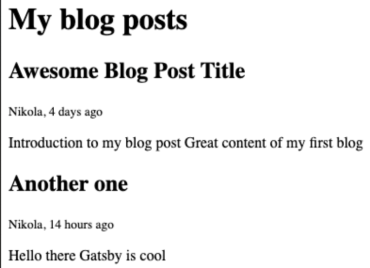 A screenshot of the HTML of your Gatsby blog.