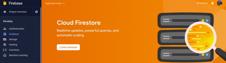 A screenshot of the Firestore dashboard.