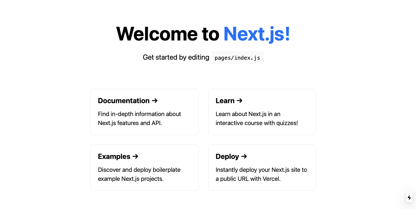 welcome page for next js, sign saying next.js