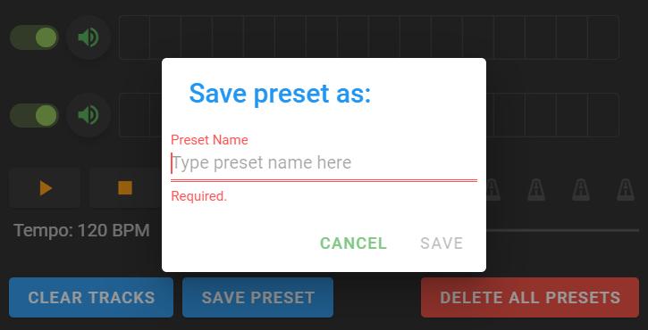 save preset as window pop up